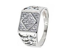 SS Cut Out Simulated Diamond Ring