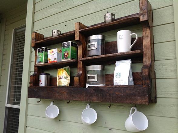 Reclaimed Coffee Amp Tea Shelf 6 Cup