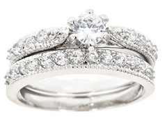 18kt WG Plated Diamond Cut Sim Diamond Ring Set