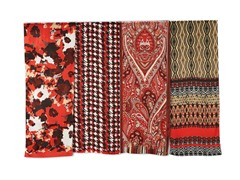 4-Pack Polyester Scarves, Poppy Red