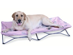 Fold and Go Large Travel Pet Bed - Pink Plush
