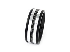 Black Ion Plated SS Stripe Ring