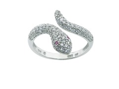 Sterling Silver Pave Snake Ring