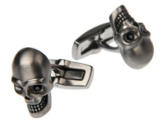 Brushed Gunmetal SS Skull Cufflinks With Black CZ Eyes
