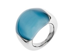 Stainless Steel and Blue Stone Ring