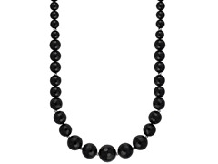 "Black Agate and SS Beads 18"" Necklace"