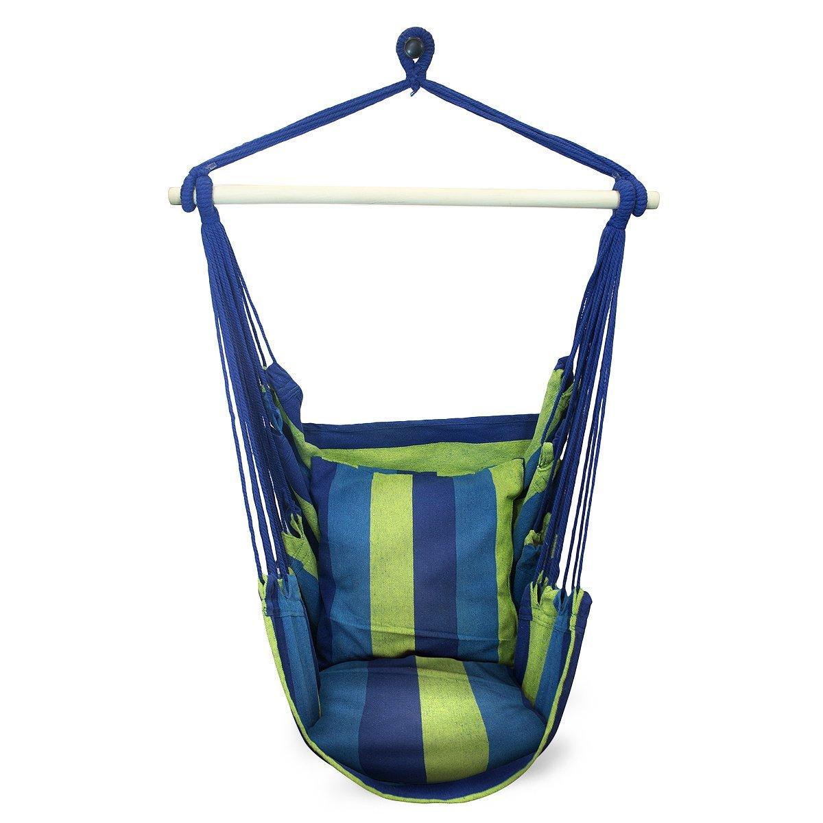 Sorbus SWING Hanging Rope Hammock Chair Swing Seat (Blue)