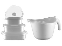 Batter Bowl, Lid & 6-Piece Set White