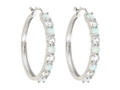 Created White Sapphire and Created Opal Hoop Earring