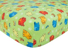 Frog Print Flannel Crib Sheet Green