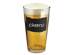 Pint Glass Set with Chalkboard Decal - S/4