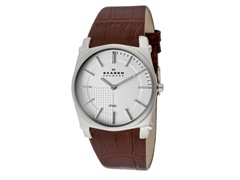 Men's Steel Silver Dial Brown Leather Strap