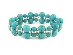 Dual Row Genuine Turquoise Bead Bracelet