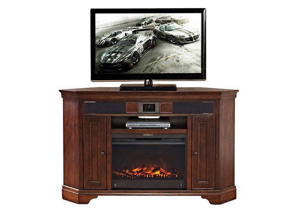 granville 60 corner audio tv stand fireplace. Black Bedroom Furniture Sets. Home Design Ideas