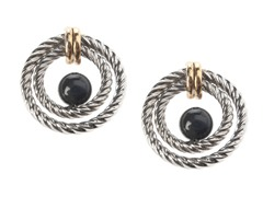 SS 14kt Accent, Black Onyx Bead Circle Earring