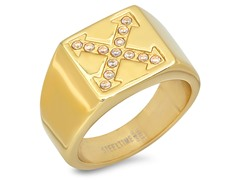 Men's 18kt Plated Ring w/ Accent