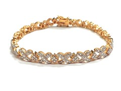 18K Gold-Plated SS XOXO Diamond Accent Tennis Bracelet