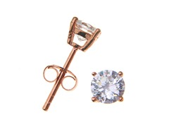 18k Rose Gold Plated 6mm Round CZ Studs