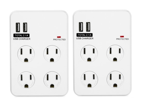 bayoutech 4 outlet wall plug w 2 usb ports. Black Bedroom Furniture Sets. Home Design Ideas