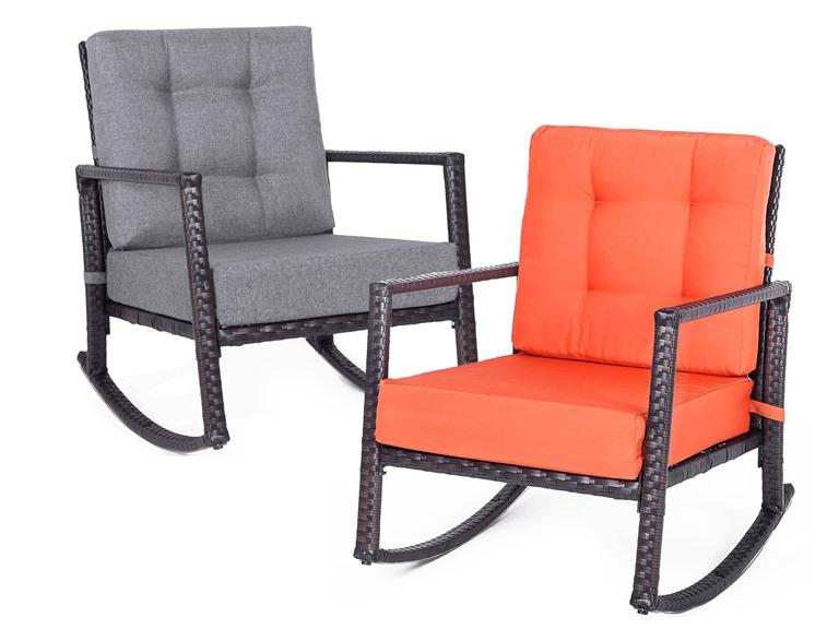 Merax Patio Rattan Rocking Chairs
