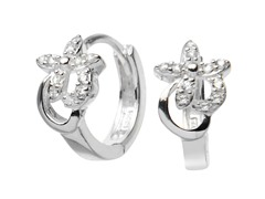 Sterling Silver Simulated Diamond Flower Huggies