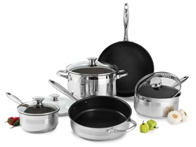 Wolfgang Puck 9-Piece Nonstick Cookware: Silver/Black