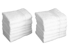 700GSM Terry Cloth Washcloths Set of 12 - White
