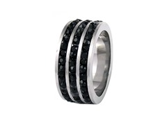 SS Tri Row Black Simulated Diamond Band