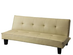 Alyssa Beige Faux Leather Futon