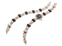 Ladies Watch, Bracelet Set, Black Dial