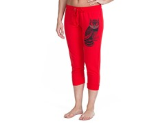 Bottoms Up Owl French Terry Capri, Red