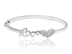 Rhodium Plated Silver/White Swarov Elem Script Love Heart Bangle
