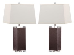 Deco Leather Table Lamp  Set of 2
