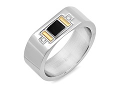 Men's Ring w/ Gold Rectangle Accent