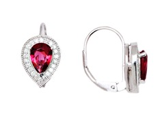 SS Tourmaline CZ Oval Leverback Earrings