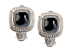 18kt Gold Square Black Agate Earrings