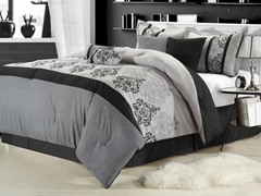 Renaissance 8Pc Comforter Set - Grey - 2 Sizes