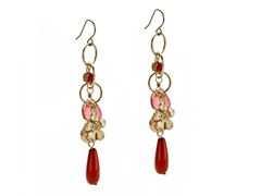 Relic Red Dangle Charm Earrings, Gold