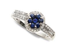 Blue Sapphire & White Topaz Ring