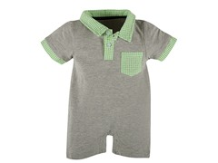 Grey & Green Gingham Polo Romper (3-18M)