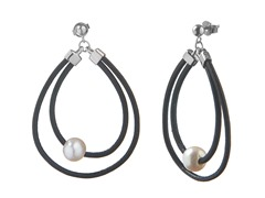 Freshwater Pearl Leather Hoop Earrings