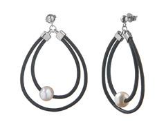 Freshwater Pearl Leather Hoop Earrings
