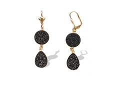 Black Onyx Druzy Crystal Round Teardrop Earrings