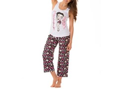 Betty Boop Capri Sleep Set, White / Black Print