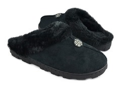 Women's Faux Suede Clog with Fur Lining, Black