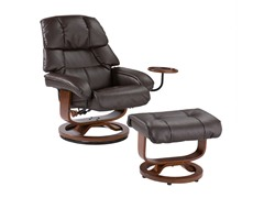 Brown Bonded Leather Recliner & Ottoman