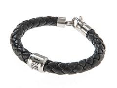 Genuine Braided Black Leather & Stainless Steel Black CZ Bracelet