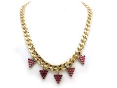Ruby Grapes Crystal Pave Cuban Chain Necklace