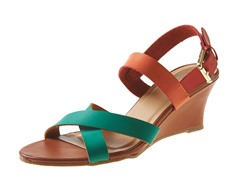Carrini Criss-Cross Low Wedge Sandal, Grn/Org/Red