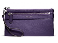 Coach Legacy Leather Zippy Wallet, Black Violet
